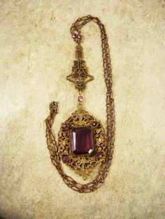 Antique  Victorian Purple jeweled Czech necklace Rich filigree and rhinestones via Etsy