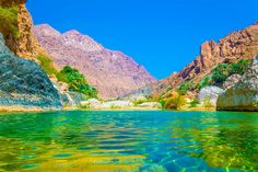 Lagoon with turquoise water in Wadi Tiwi, Oman. Image by trabantos / Shutterstock