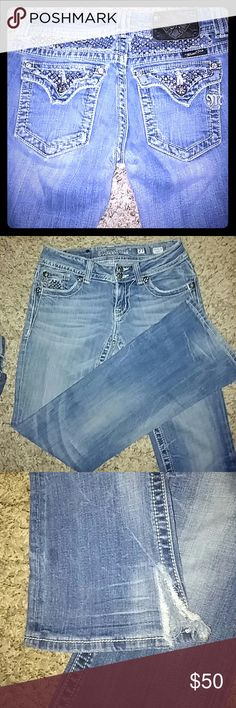 Miss me jeans Size 27 length is 28 cut the bottoms to fit around tennies better Miss Me Jeans Boot Cut