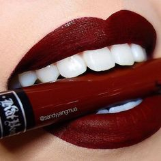 We can't get enough of #Vampira  {immaculate lip swatch by @chuyyangmua} #EverlastingLiquidLipstick #kvdlook by katvondbeauty