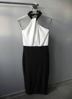 Sukienka dwa kolory midi wycięcie S