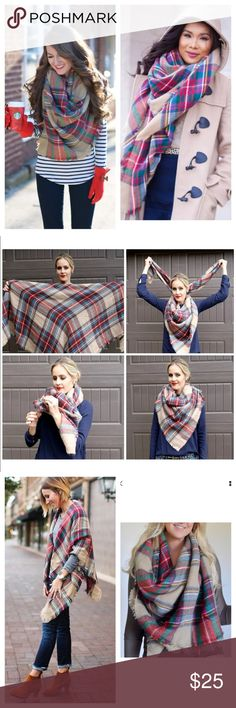 """Blanket scarf Blanket oversized tartan scarf wrap plaid cozy women Beautiful winter scarf, soft and warm. One size fits most adults.  Measurements: Approximately 60"""" inches x 60"""" inches Accessories Scarves & Wraps"""