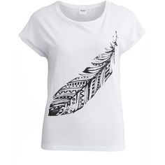 Object Collectors Item Objindiana - Feather T-Shirt (1.660 RUB) ❤ liked on Polyvore featuring tops, t-shirts, shirts, tees, white, t shirts, print shirts, stretch t shirt, short sleeve tee and pattern t shirts
