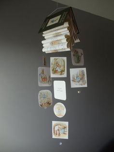 I love vintage books,make mobiles and I am always thinking of new ways to make mobiles. So one day I was looking through my books and I saw