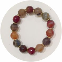 Multicolor Agate Bracelet with Gold Daisies