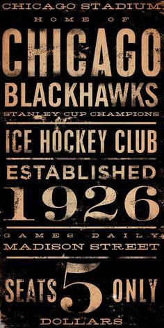 CHICAGO BLACKHAWKS hockey club original graphic art on canvas 10 x 20 by stephen fowler. $95.00, via Etsy.