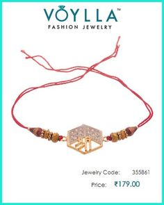 #Religious #Rakhi In #Gold_Tone Provided With #Red Dori  #Price : Rs. 179.00  #Jewelry_Code : 355861  #Material : Fabric