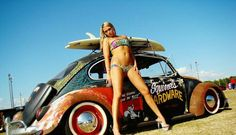 Badass VW beetle # bikini girl .... ♠ VW beetle bug #rat rod #sexy # slammed # pin-up ♠... X Bros Apparel Vintage Motor T-shirts, VW Beetle & Bus T-shirts, Great price