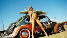 Badass VW beetle # bikini girl .... ♠ VW beetle bug #rat rod #sexy # slammed # pin-up ♠... X Bros Apparel Vintage Motor T-shirts, VW Beetle & Bus T-shirts, Great price