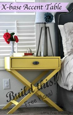 DIY X-base accent table with free plans - Little Free Monkeys