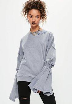 Grey Embroidered Flared Sleeve Sweatshirt