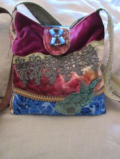 Preview of one of my new bags. available June 1st. Vintage velvets and french steel bead applique.