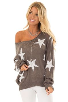 dd7f9300140 Lime Lush Boutique - Charcoal Comfy V Neck Sweater with Star Print, $54.99  (https