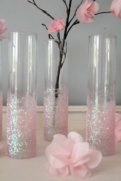 Icing Designs: DIY Glittery Pink Vases - For a baby or bridal shower?