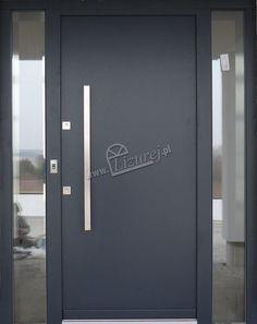 Drzwi zewnętrzne drewniane nowoczesne antracyt LZ 418 - Lizurej