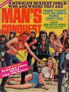 Men's Pulp Adventure Magazines  Cover of MAN'S CONQUEST, August 1971