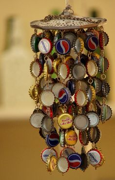 Wind Chime Made Out of Old Bottle Caps