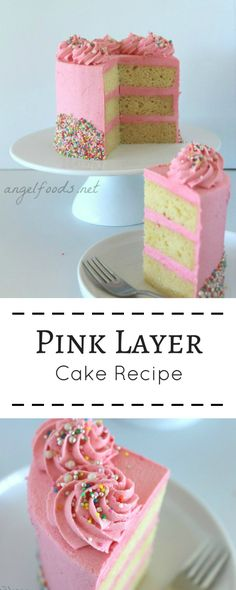 Pink Layer Cake   I had this vision of a pink layer cake sharing recipe and video tutorial, in my head for ages. Perfect vanilla cake, bright pink butter cream and 3 perfect layers of cake with 2 layers of pink butter cream.