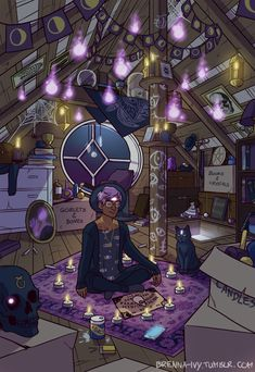"brenna-ivy: "" It took me a while, but it is finally done! The Modern Male Witch: Attic! There is a large collection of spirits lingering in the witch's attic, floating, inhabiting objects. The witch..."
