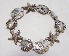 Vintage ocean beach theme charm bracelet Sterling silver sand dollar, seashell…