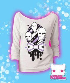 Spooky Memento Kawaii Ghosts Graphic 3/4 Sleeve Wideneck Sweatshirt Pastel Goth Fairy Kei
