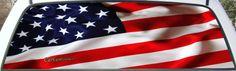 U.S. Flag pickup graphic rear window mural.