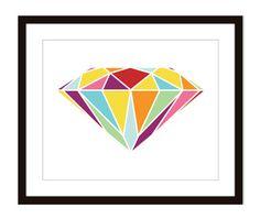 Diamond Art Print  Wall Art Modern   Modern Home by AldariArt, $18.00
