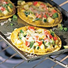 Lentil and veggie tostadas.  I put baby spinach on top of lentil spread and load up the veggies. It is delicious!
