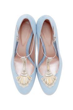 Powder blue bridal shoes