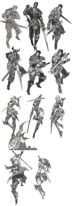 Character designs - drawing reference for holding a sword: