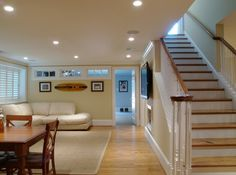Interesting idea for the basement.. add windows to the upper part of the wall to allow light throughout the space