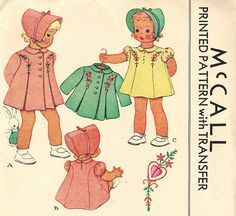 McCall 1051 UNCUT Vintage 40s Adorable Toddler Girls Coat, Dress and Bonnet  Ensemble - Embroidery Transfer - Princess Seams Sewing Pattern
