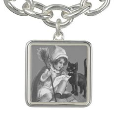 Monochrome Witch Black Cat Jack O Lantern Charm Bracelet