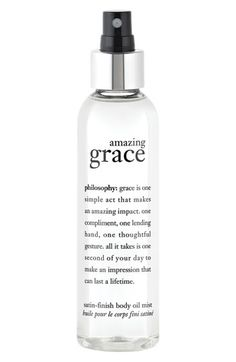 philosophy 'amazing grace' satin-finish body oil mist.  I didn't know this product existed!  Must buy asap!