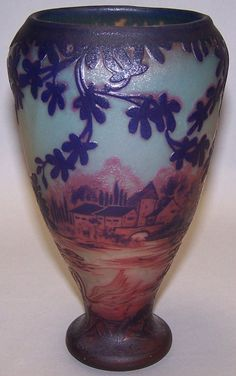 DEVEZ CAMEO GLASS VASE. Cut purple to red to green, with architectural and landscape decoration