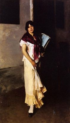 John Singer Sargent, Italian Girl with Fan Paintings for Sale