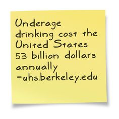 The average cost of underage drinking per year in the U.S. This was helpful for my speech. I pinned this from uhs.berkeley.edu,  a website about health concerns