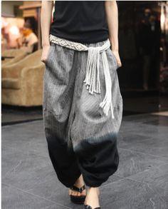 wide leg, plus size women linen harem pants, casual women wide leg pants