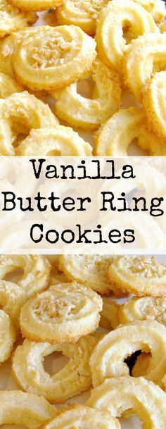 Vanilla Butter Ring Cookies -- these little cookies have a wonderful vanilla flavor and melt in your mouth so wonderfully. http://www.lovefoodies.com/vanilla-butter-ring-cookies.html