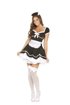 About Costume Shop French Maid Costume - Chamber Maid Adult CostumeBedroom Mistress!Costume includes: Black and white dress, apron and headpiece.Available Sizes: Small Medium Large highs and shoes not included. Maid Halloween, Halloween Costumes For Girls, Adult Costumes, Costumes For Women, Girl Costumes, Halloween Makeup, Halloween Ideas, French Maid Dress, French Maid Costume