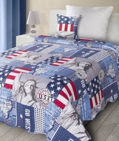 obojstranny-patchwork-prehoz-na-jednolozko-s-motivom-usa Comforters, Blanket, Bed, Home, Scrappy Quilts, Creature Comforts, Quilts, Stream Bed, Ad Home