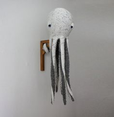 This wicked cute big Octopus made by hand is 90 cm long (35,5 inches) Made from 100% Cotton jersey (top) and polyester faux fur (bottom), Stuffed with