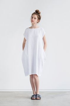 White linen cocoon dress with short or 3/4 sleeves