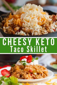 This Keto Cheesy Taco Skillet is going to become one of your all-time favorite keto recipes! It is so delicious, full of flavor, and a low carb skillet meal that everyone in your family will enjoy. Keto Foods, Keto Approved Foods, Ketogenic Recipes, Diet Recipes, Healthy Recipes, Ketogenic Diet, Clean Eating, Healthy Eating, Cena Keto