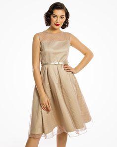 13b388c48474 'Aleena' Classy 1950s Inspired Polka Dot Prom Dress In Dark Vanilla
