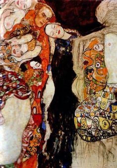 """peinture autrichienne : Gustav Klimt, 1918, """"la jeune mariée, détail"""", 1910s"""