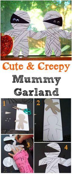 Halloween craft for kids - great fine motor skills & scissor practice! Build a mummy chain