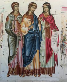 Possibly the three daughters of St. Sophia: Faith, Hope and Charity Byzantine Icons, Byzantine Art, Religious Icons, Religious Art, Three Daughters, Neo Traditional, Orthodox Icons, Mother Mary, Saints
