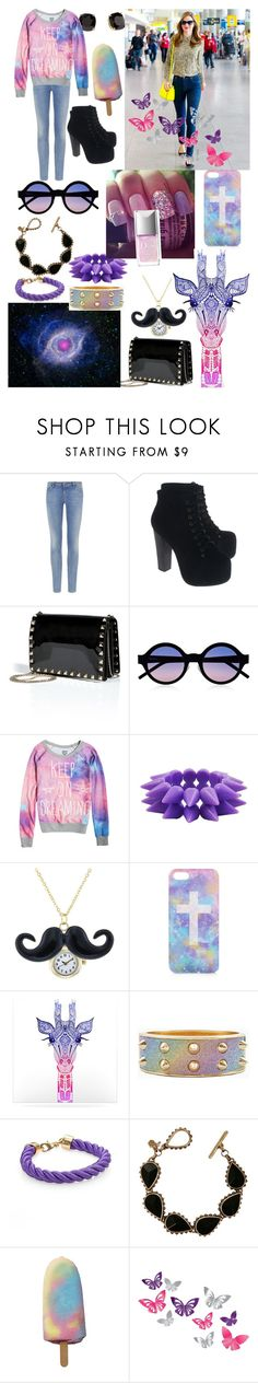 """Love this look"" by loveselena22 ❤ liked on Polyvore featuring Armani Jeans, Jeffrey Campbell, Valentino, Illesteva, Kate Spade, Topshop, China Glaze, Kerr®, Kess InHouse and Lucky Brand"