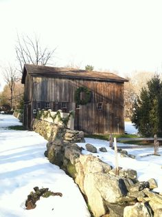 barn with wreath.
